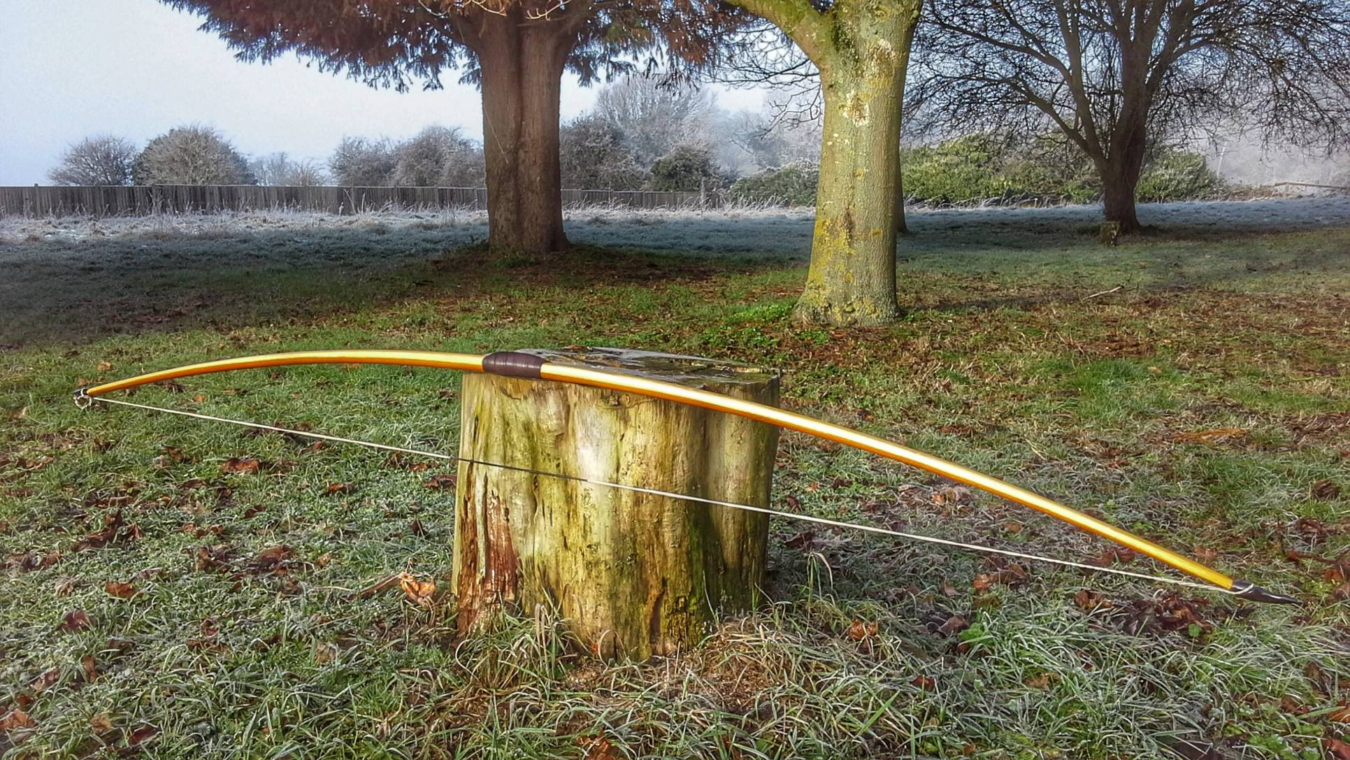 Entry level English longbow with horn nocks